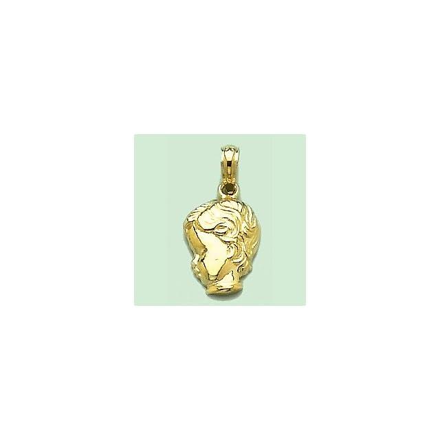14k Yellow Gold Novelty Charm Pendant, 2D Little Boy Head Silhouette
