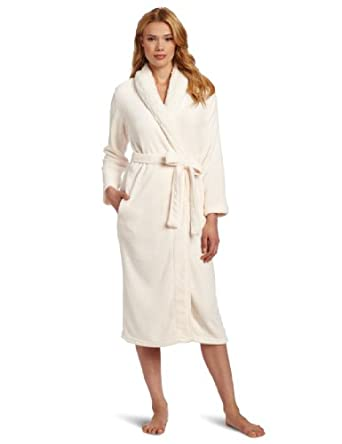 Dearfoams Women's Sherpa Shawl Solid Long Robe, Pristine, Medium