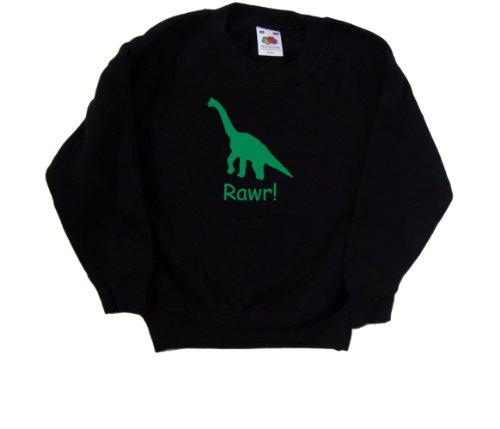 Fruit-of-the-Loom-Sweatshirt-Rawr-de-dinosaure-enfant-Noir