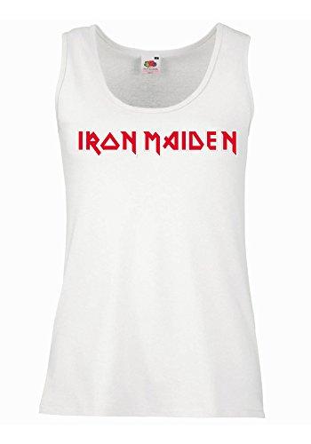 """Canotta Donna """"Iron Maiden"""" - 100% cotone LaMAGLIERIA, XL, Bianco"""