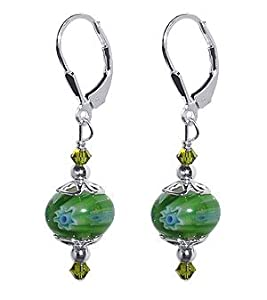SCER055 Sterling Silver Emerald Green 10mm Donut Shape Millefiori Glass Bead Crystal Earrings Made with Swarovski Elements