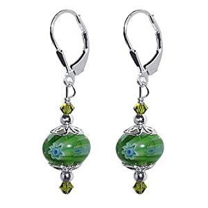 SCER055 Sterling Silver Green 10mm Donut Shape Millefiori Glass Bead Crystal Earrings Made with Swarovski Elements