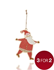Crimbleberry Wood Wooden Santa Christmas Tree Decoration