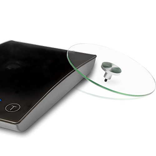 La balance de cuisine numérique de Smart Weight est dotée de plateau de pesée en verre détachable, de capteurs de haute précision, de boutons tactiles avec clic de confirmation, d'un grand écran LCD rétroéclairé, avec une couleur, Noire.