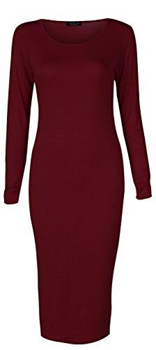Crazy Girls Womens Ladies Long Sleeve Scoop Neck Midi Dress (M/L-US10/12, Wine)