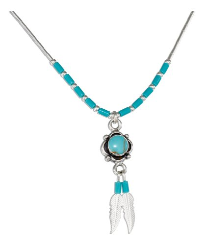 Sterling Silver 16 inch Turquoise Concho and Feathers Liquid Silver Necklace