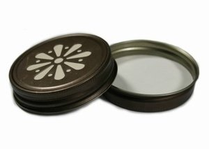 Daisy Straw Hole Lids for Regular Mouth Mason, Ball, Canning Jars (10 Pack, Vintage Bronze)