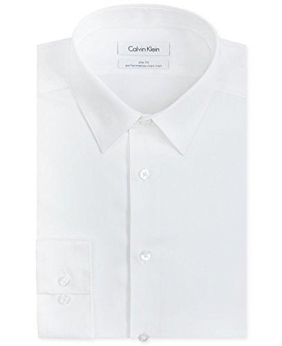 Calvin Klein Men'S Non-Iron Slim-Fit Performance Dress Shirt White 16.5 32/33
