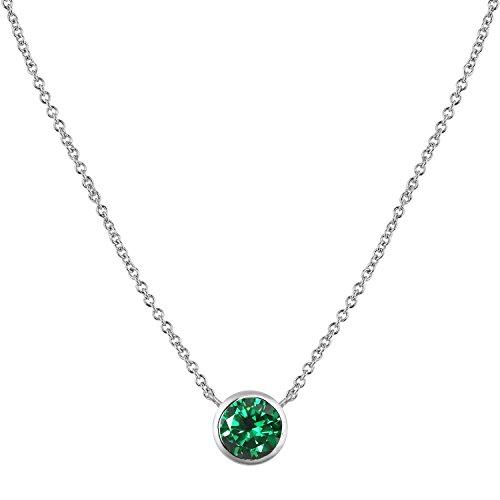 [ジュエリーキャッスル] Jewelry Castle ネックレス 0.84カラット シンセティック エメラルド 一粒ベゼル ネックレス (合成ルビー) 5月 誕生石