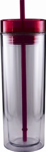 Insulated Plastic 16 oz Cup with Matching Lid and Straw Travel Breeze Tumbler (Pink (Magenta))