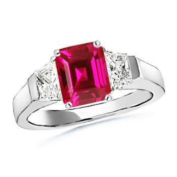 Emerald Cut Lab Created Ruby and Simulated Diamond Three Stone Ring in 10k White Gold