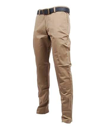 FLATSEVEN Mens Slim Fit Chino Pants Trouser Premium Cotton (CH101) Beige, Size L