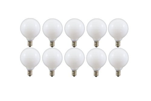 Triangle Bulbs T20627-10 40-Watt G165 Decorative Globe E12 Candelabra Base Light Bulbs, White, 10-Pack