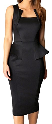 Made2Envy Bodycon Midi Peplum Dress With Square Neckline (M, Black)