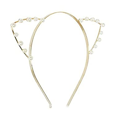 Leegoal Crystal Pearl Shot In Cat Ears Child Adult Hair Bands,Silver