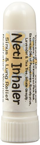 NETI INHALER Sinus & Lung Relief. HIMALAYAN SALT AIR! Respiratory Wellness. Clearing, Healing Ions, Aromatherapy. Energizing scent! Breathe SALT AIR anywhere! Pocket or Purse Stick, Handy Portable. Contains Himalayan Pink Salt & Healing Botanical Blend. Inhale Deeply for Colds, Asthma, Cough. Ion therapy. 100% Pure and Natural.