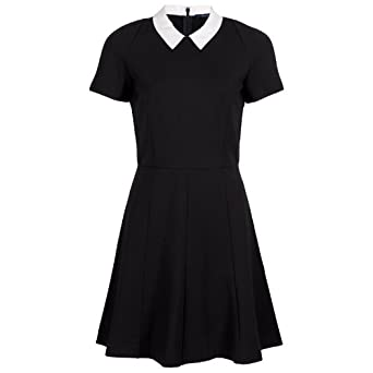Flared dress black white collar uk 14 amazon co uk clothing