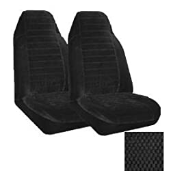 Set of 2 Universal Fit High Back Scottsdale Pattern Front Bucket Seat Cover - Black