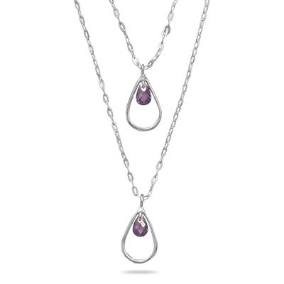 16 Inch+2 Inch Extension Double Graduated Strand Necklace with Purple CZ