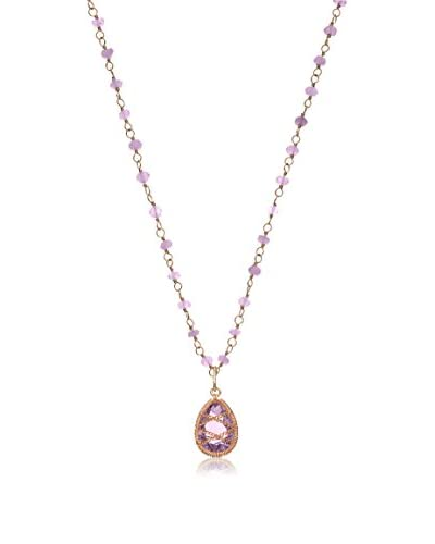 Laurium Lynx Hand-Wrapped 14K Rose Gold-Plated Amethyst Drop Pendant Necklace on a Beaded Chain