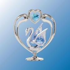 Swan In Heart Table Decor ..... With Blue Swarovski Austrian Crystals - 1