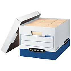 Letter/Legal Premium White/Blue File Storage Boxes with Lids (Box of 12)