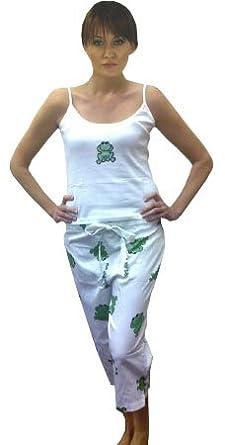 Frog Pajama, Women's 100% Cotton Knit Tank Top Sateen Bottom, White