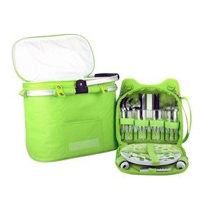Confidence Camping Picnic Basket Hamper Bright Green Polkadots Inc Plates, Cutlery, Accs