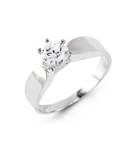 14k Solid White Gold Round Solitaire CZ Engagement Ring