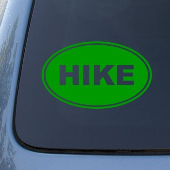 HIKE EURO OVAL - Hiking - Vinyl Car Decal Sticker #1715 | Vinyl Color: Green