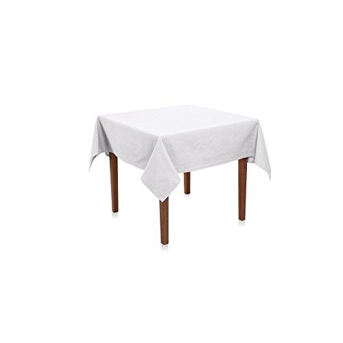 Tischdecke 100x100 cm, Weiß, eckig, Uni, Baumwolle Canvas, robust, langlebig, reißfest, strapazierfähig, 220 g/qm, einfarbig, Tischwäsche, Tischtuch