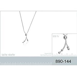 Collier en Argent 925/000 - Chaîne avec Pendentif Fixe - Forme Originale : Tiges Arrondies avec Boules, Perles Argentées - Bijoux Femme