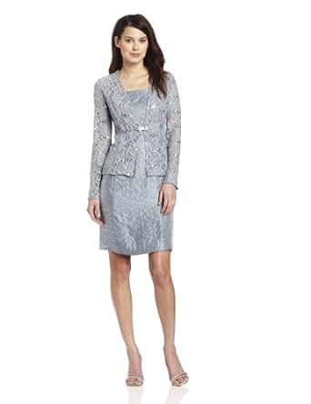 Jessica Howard Women's Petite 2 Piece 3/4 Sleeve Lace Jacket Dress, Blue, 4P