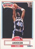 Willie Anderson San Antonio Spurs 1990 Fleer Autographed Hand Signed Trading Card. by Hall+of+Fame+Memorabilia