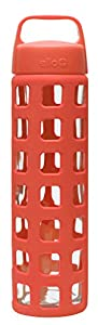 Ello Pure 20-oz Glass Water Bottle with Silicone Sleeve (Coral Squares)