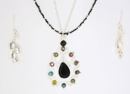 Tear Drop Jet Black Necklace and Earrings Set