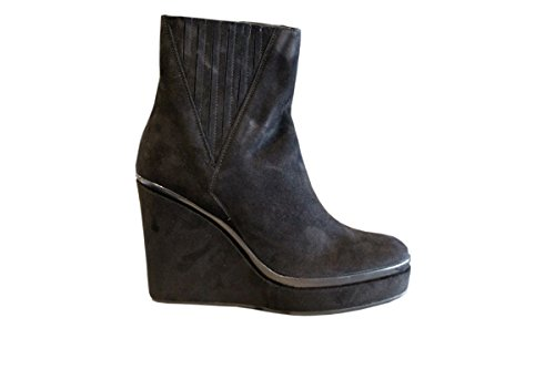 362-416-10 BLACK Tronchetto zeppa Donna Camoscio Delineata