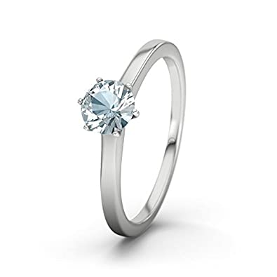 21DIAMONDS Women's Ring Azores Aquamarine Brilliant Cut 9Ct White Gold Engagement Ring