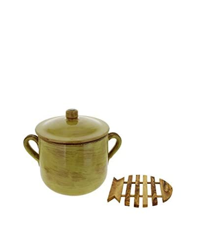 COLI Covered Stockpot & Olive Wood Trivet, Saffron Yellow