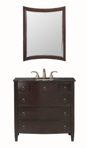 Virtu USA LS-1041BG Venice 36-Inch Single Sink Bathroom Vanity with Mirror and Ivory Ceramic Basin, Espresso Finish