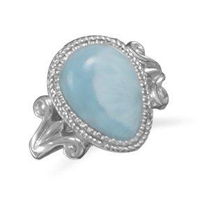 Pear Shape Larimar Ring / Size 6