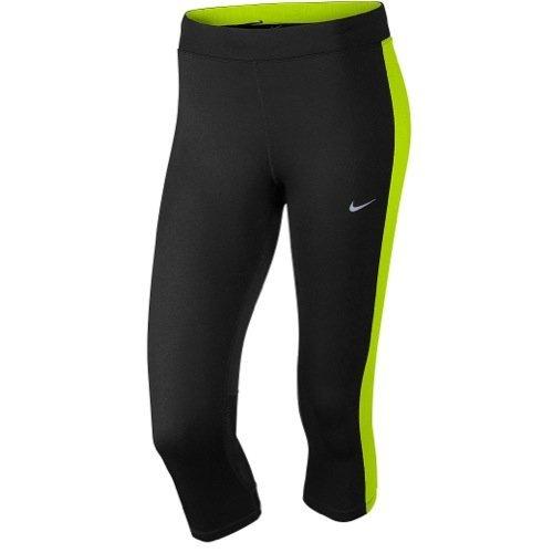 Nike Df Essential Capri Collant da Corsa - Multicolore (Nero/Volt/Volt) - S