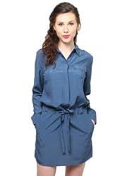 XnY Teal Blue Shirt Dress
