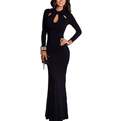 Women's Elegant Slim Long Leeve Hollow Out Bodycon Maxi Dress