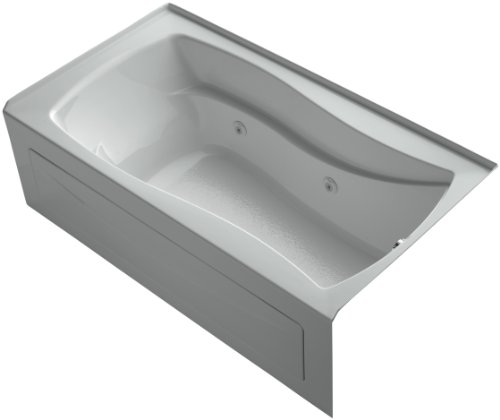 KOHLER K-1224-HR-95 Mariposa 66-Inch x 36-Inch Alcove Whirlpool with Integral Apron, Tile Flange, Right-Hand Drain and Heater, Ice Grey