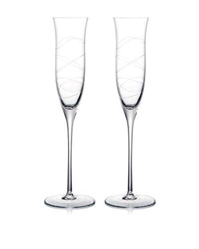 Nambe Set of 2 Motus 6-Oz. Champagne Flutes, Clear