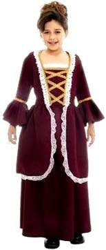 Colonial Girl Child Historical Costume Xl