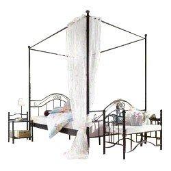 Himmelbett aus Metall 180x200 9100.18S + 9102.18S in schwarz pulverbeschichtet von Heinz Hofmann