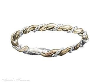 Sterling Silver Gold Filled Triple Twist Band Ring Size 8