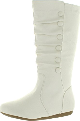 Top Moda Womens Bank-78 Mid Calf Round Toe Stiching Flat Boots,White,7 (White Boot Tops)